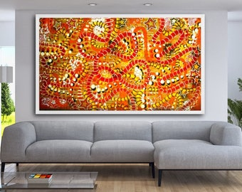 """FREE SHIPPING original 57"""" x 96"""" large abstract orange color surreal pop art street art painting"""