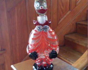 Vintage Italian Murano Art Glass Clown Decanter Perfect!