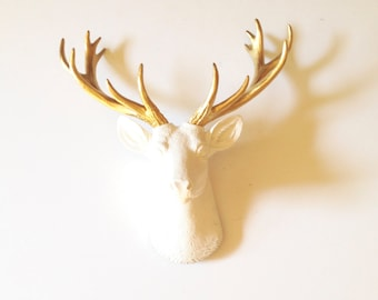 """SMALL Deer Head White GOLD Faux Taxidermy wall mount wall hanging / stag animal head / faux taxidermie  14.5"""" tall resin deer head faux deer"""