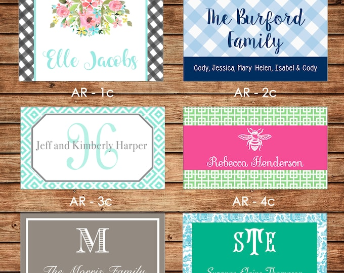 20 Printed All Occasion Rectangle Gift Tags Enclosure Cards Stickers - Can personalize - Choose ONE design