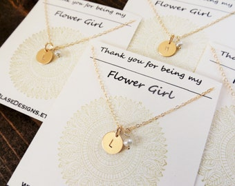 Personalized Gold Flower Girl Initial Necklace with Freshwater Pearl // Cable Chain