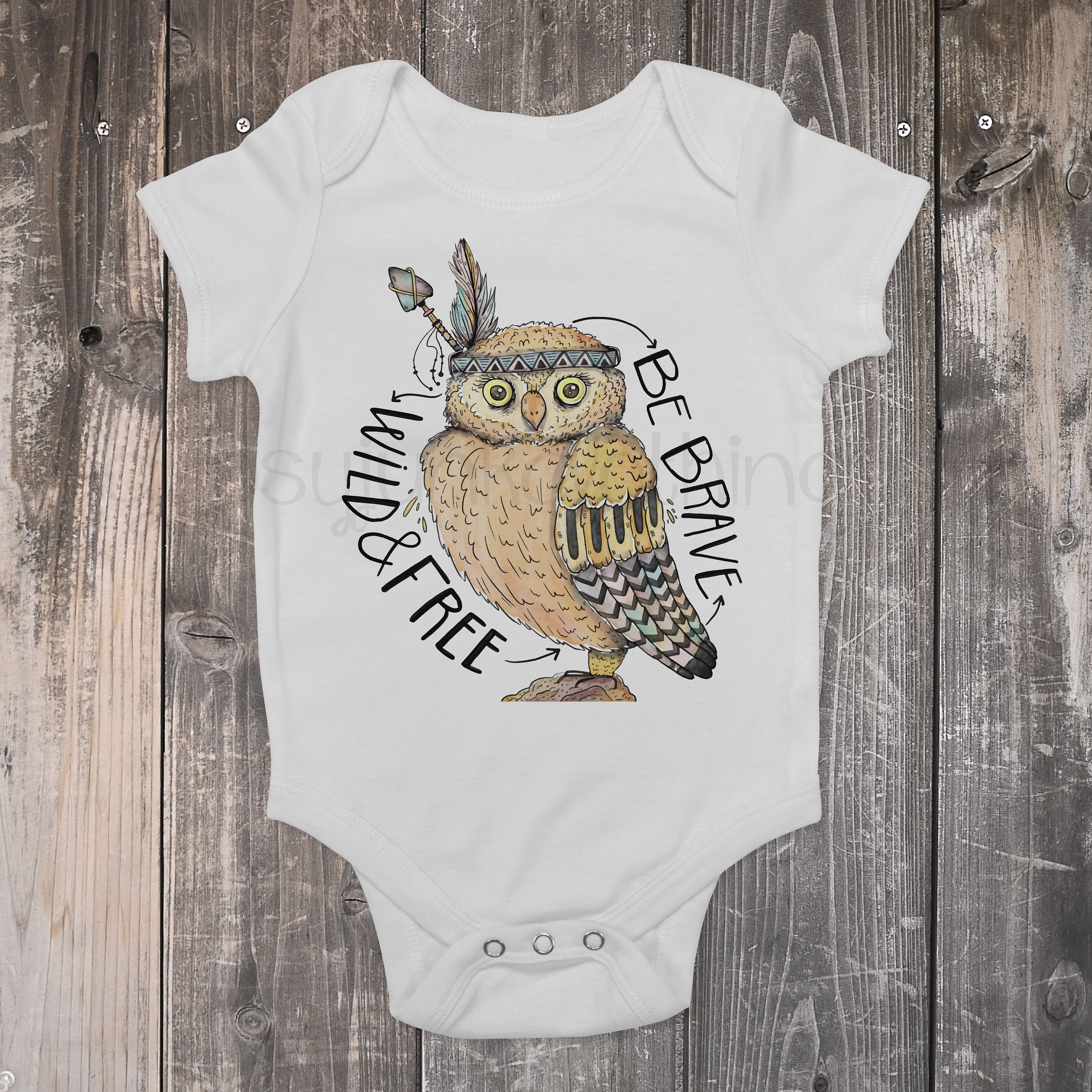 Owl Baby Outfit Be Brave Boho Baby Top Be Brave Wild and Free