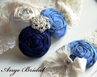 Wedding Garter Set/ SILK, Bridal Garter, Blue Garter Set, Something Blue, Dupioni Silk/Vintage Wedding Garter