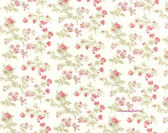 Moda 3 Sisters Favorites 3770 11 China White, Cottage Chic Fabric, Shabby Chic Pink Roses Fabric, Cotton Quilt Fabric, Pink Floral Fabric