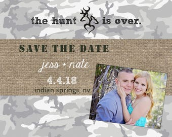 woodland save the dates for wedding, save the date magnets, wedding save the date postcards, browning save the dates, camo save the dates