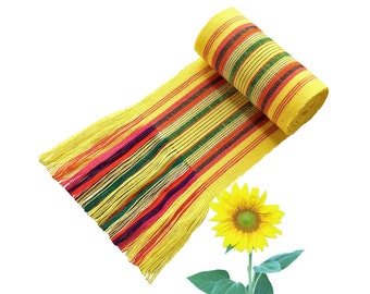 Striped Yellow Sash, SA21 - Bohemian Belt - Guatemalan Textiles - Ethnic Sash - Gypsy Clothing - Woven Sash - Fabric Sash Belt