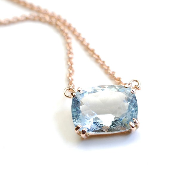 aquamarine aqua birthstone marine necklace il march minimalist listing
