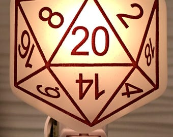 Dungeons and Dragons Die 20 Sided Night Light Fused Glass