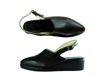 PIPER. Closed Toe Straped Wedges- Pointy toe - Black leather - All sizes -