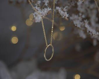 Minimalist Necklace, Minimalist Gold Necklace, Geometric Circle Necklace, Dainty Gold Necklace, Gold Geometric Necklace, Minimalist Jewelry