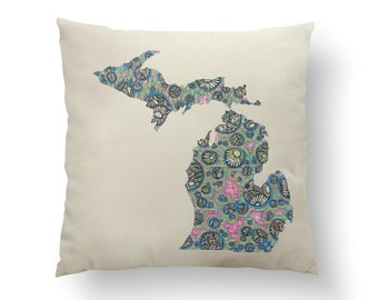 "16"" Petoskey Bubbles Michigan State Pillow w/ Insert, Throw Pillow, State Art, Michigan Gift, Housewarming Gift, Map Pillow, Throw Pillow"