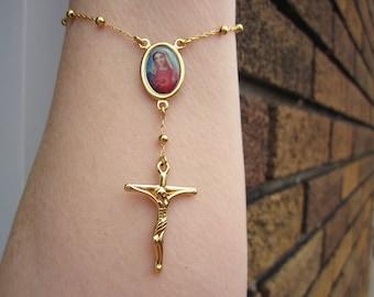 Delicate 9k G.P. handmade Decade ROSARY Bracelet- w. colorful VIRGIN MARY center medal