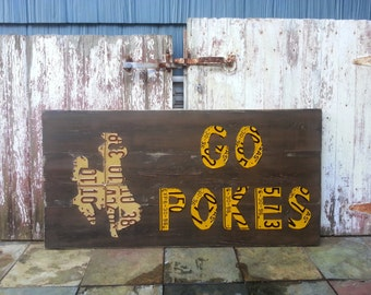 LICENSE PLATE artwork - Any Customized Personalized Team Mascot Spirit Football Logo Awesome Recycled Art - Salvaged Wood - Upcycled Artwork