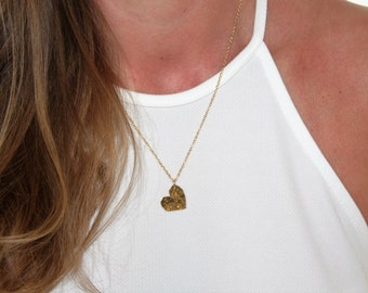 brushed pin charm gold vermeil heart pendant necklace flat