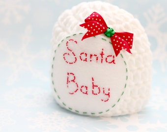 Santa baby hat,Santa crochet hat,  newborn photo prop, first Christmas