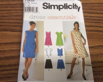 Simplicity Sewing Pattern 7509 Dress Essentials Size N 10, 12, 14. Uncut Pattern