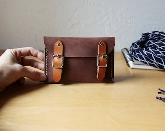 READY TO SHIP // Hand Stitched Leather Buckle Wallet // Velvet Brown