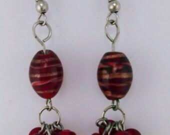 Crimson Glass Drop Earrings