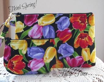 Spring Tulip Purse, Travel Pouch, Travel Purse, Travel Clutch, Tulip Wristlet, Zipper  Bag Set, Smart phone Case,  Handbag, Tulips