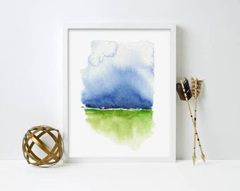 Blue and Green Abstract Art Print, Abstract Watercolor, Abstract Contemporary Art, Modern Watercolor Painting, Boho Home Decor