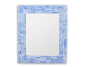Blue Bathroom or Blue Bedroom Mirror in Stained Glass Mosaic Tiles – 24x30 Mirror or 3 Other Sizes
