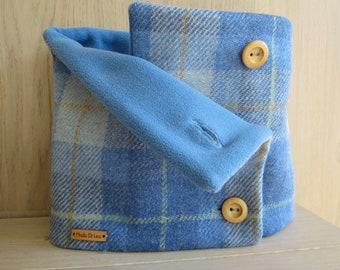 Harris Tweed Neckwarmer, wool scarf for woman, cowl, circle scarf - Blue Ocen