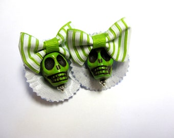 Sugar Skull Earrings Day Of The Dead Jewelry Green Blue Hats