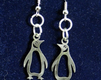Little Penguin Stainless Steel dangly Earrings, penguin earrings