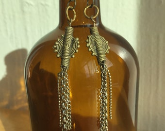 Handmade One-Of-A-Kind Bead and Chain Earrings