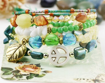 Peace vibes 5 tiers bangle (MW revised version) - howlite, quartzite, jade and serpentine