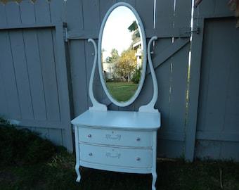 Shabby White Dresser - Dresser with Mirror - Vintage Shabby Vanity - Girls Painted Dresser - Cottage Style Dresser - Shabby Decor