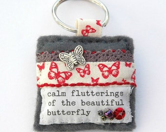 butterfly keyring,  butterfly gifts, outdoor nature gifts, hand sewn butterfly keychain, butterfly accessory, insect keyring, gardener gift,