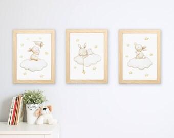 """SET of three Nursery Art """"BUNNIES with STARS"""" Archival Print, Nursery wall art, Nursery Print."""