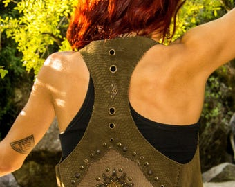 SACRED GEOMETRY Leather Vest // Handmade Tribal Clothing - Made to order