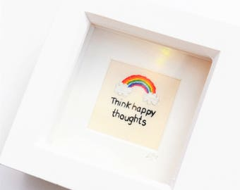 Inspirational Quote/ Rainbow/ Miniature Hand Embroidery Framed Art/ Textile Art/ Wall Hanging/ Embroidery Art
