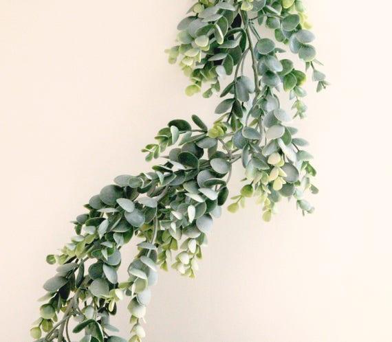 Best Faux eucalyptus garland Artificial leaves White ribbon ties GX99