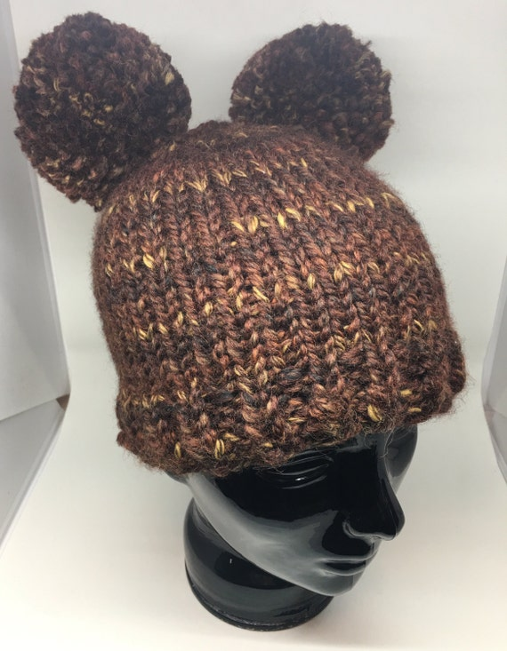 variegated brown double pompom winter hat