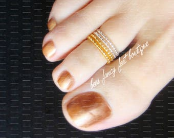 Stacking Toe Ring, Stacking Rings, Gold Beads, Silver Beads, Gold Toe Ring, Silver Toe Ring, Toe Ring, Ring, Stretch Bead Toe Ring