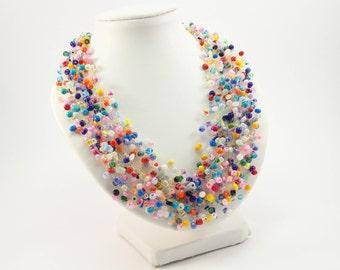 Gift for Mothers gypsy jewelry fun jewelry beaded necklace Rainbow jewelry Bohemian Jewelry hippie jewelry ombre jewelry spring jewelry