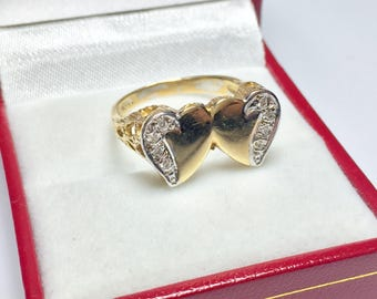 Vintage Heart Diamond Ring, 14KT Yellow Gold Diamond Ring, Double Heart Ring, Sweetheart Ring, Statement Ring, Signet Ring
