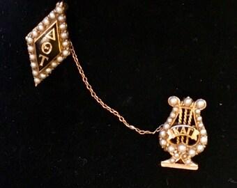 Vintage Circa 1930 14k Gold Enamel & Seed Pearl Delta Theta Tau Sorority Pins