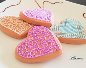 Handmade Fake Cookie Set of 4 Faux Cookies Valentine Gift Wedding Decor Photography Props