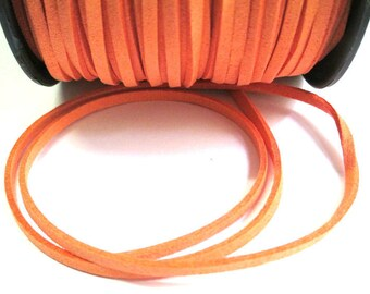 1 m look orange suede 3 mm suede cord