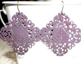 Eggplant Earrings,Handpainted Earrings, Bronze Filigree Earrings,Earrings Boho Earrings Rustic Jewelry Dangle Earrings