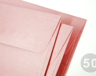 """50 A7 (5x7) Metallic Pink Envelopes - Perfect for 5""""x7"""" party invitation (The actual size is 5 1/4""""x7 1/4"""")"""