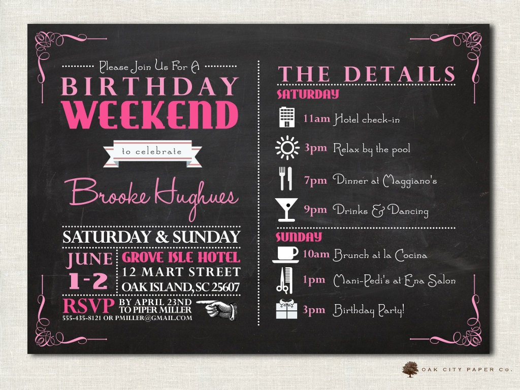Birthday Party Invitation With Itinerary Weekend