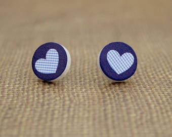Blue Round Wood Stud Earrings