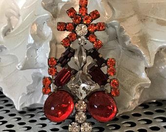 Husar Vintage Christmas Tree Pin, Czech Rhinestone Christmas Tree Brooch, Gift for Her, Estate Jewelry, Christmas Jewelry, Holiday Jewelry