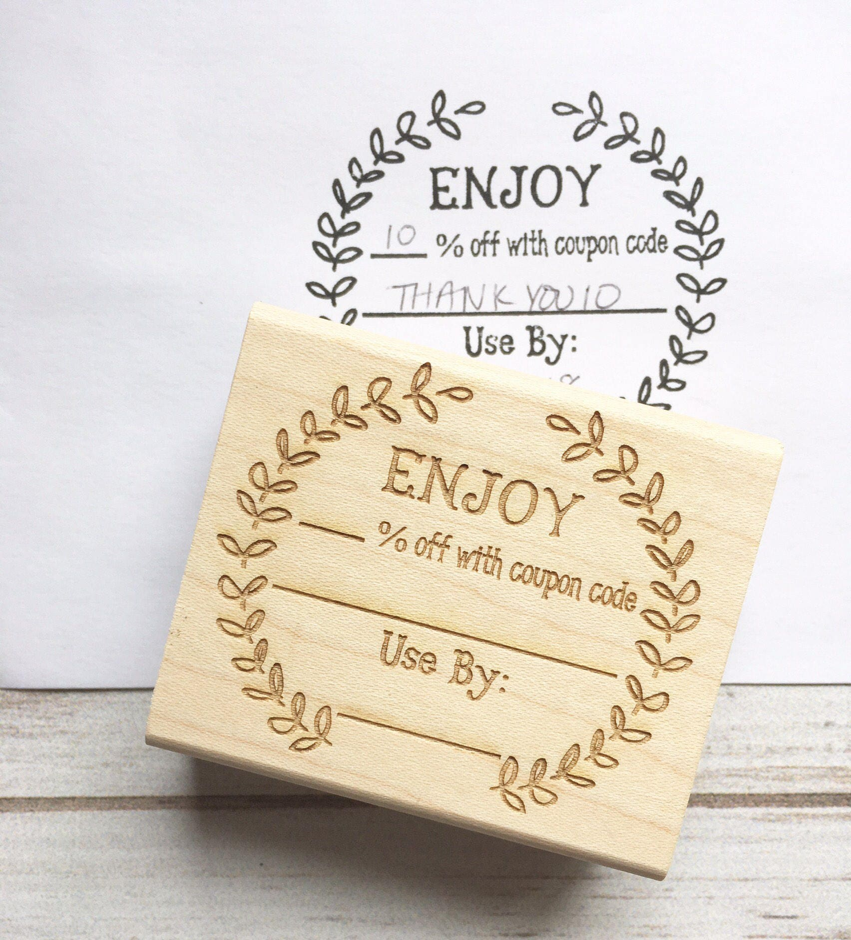 Coupon Code Stamp Enjoy Discount Promo Sale Custom Rubber Stamp