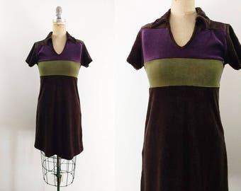 Vintage 1990s 90s Velvet Dress 90s Babydoll Dress 90s Dress Striped Velvet Dress 90s Collared Dress 90s Collared Velvet Dress XS Small
